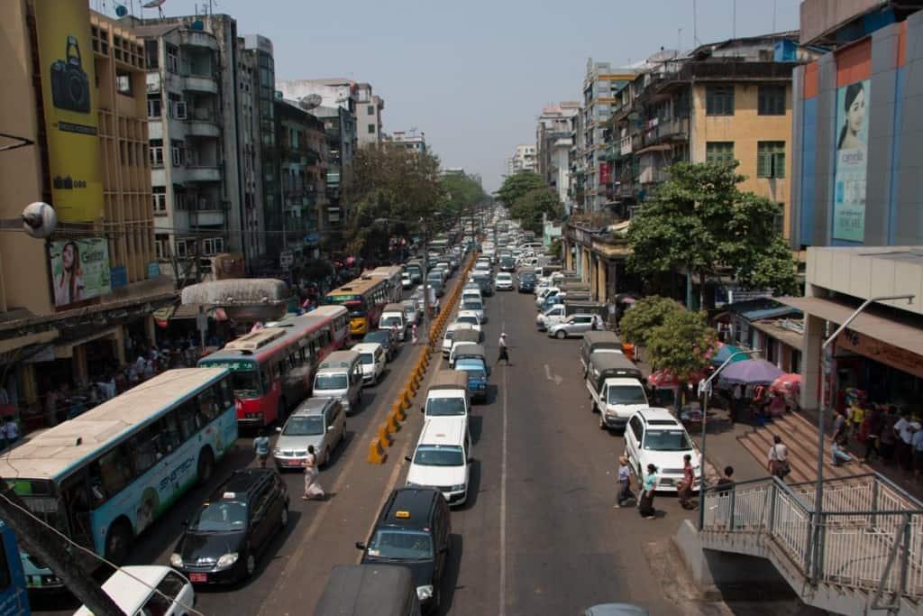 Traffic jam in Yangon