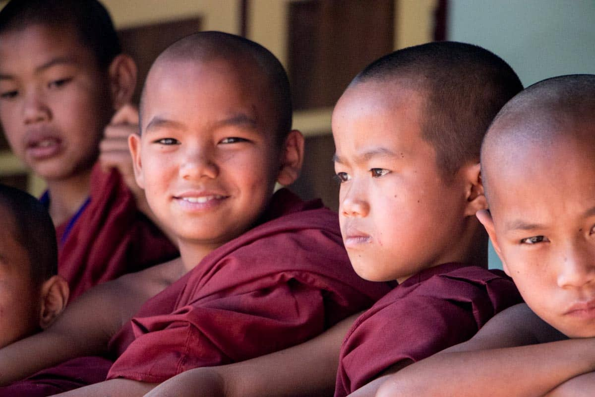 Young novice monks in Myanmar
