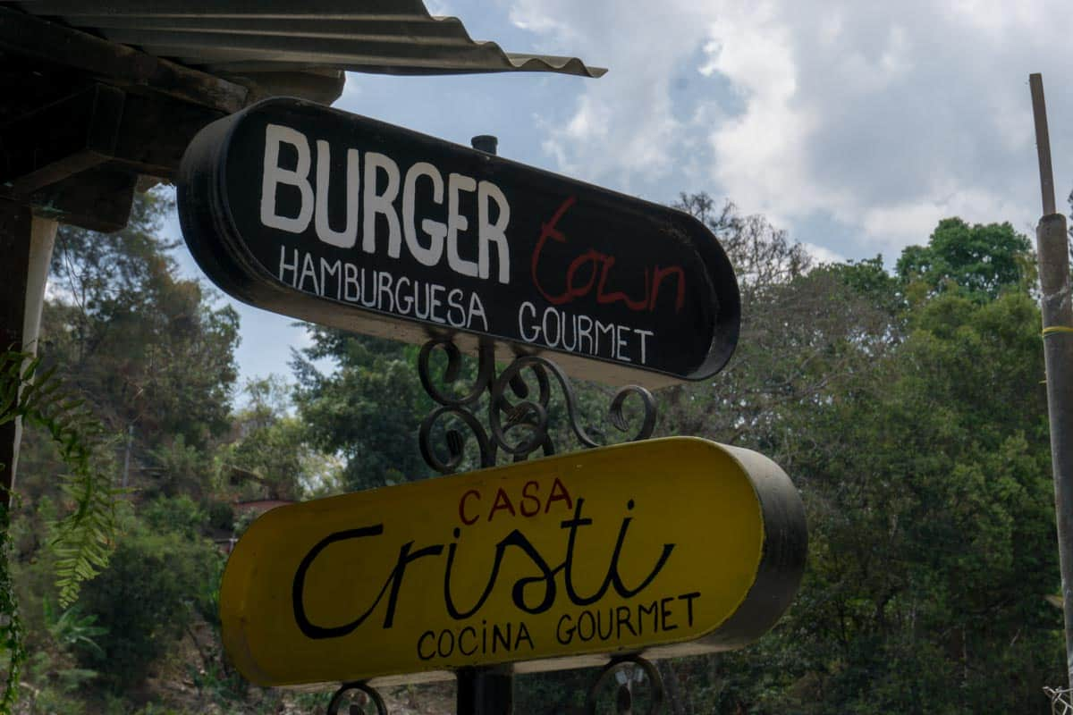 A sign for restaurants in Minca Colombia
