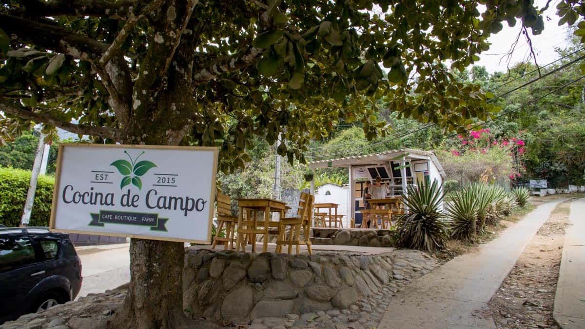 The outdoor coffee place at Cocina de Campo in Minca Colombia