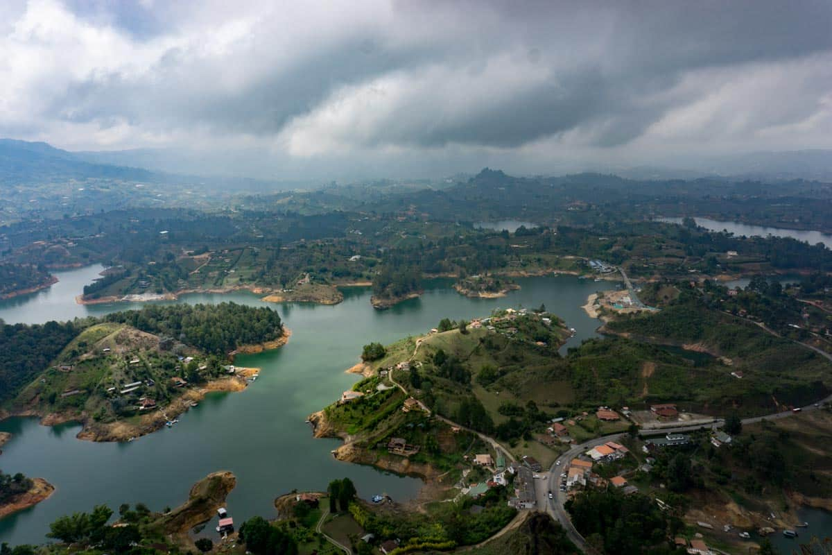 Views above the big rock in Guatape one of the best places to enjoy for 2 weeks in Colombia