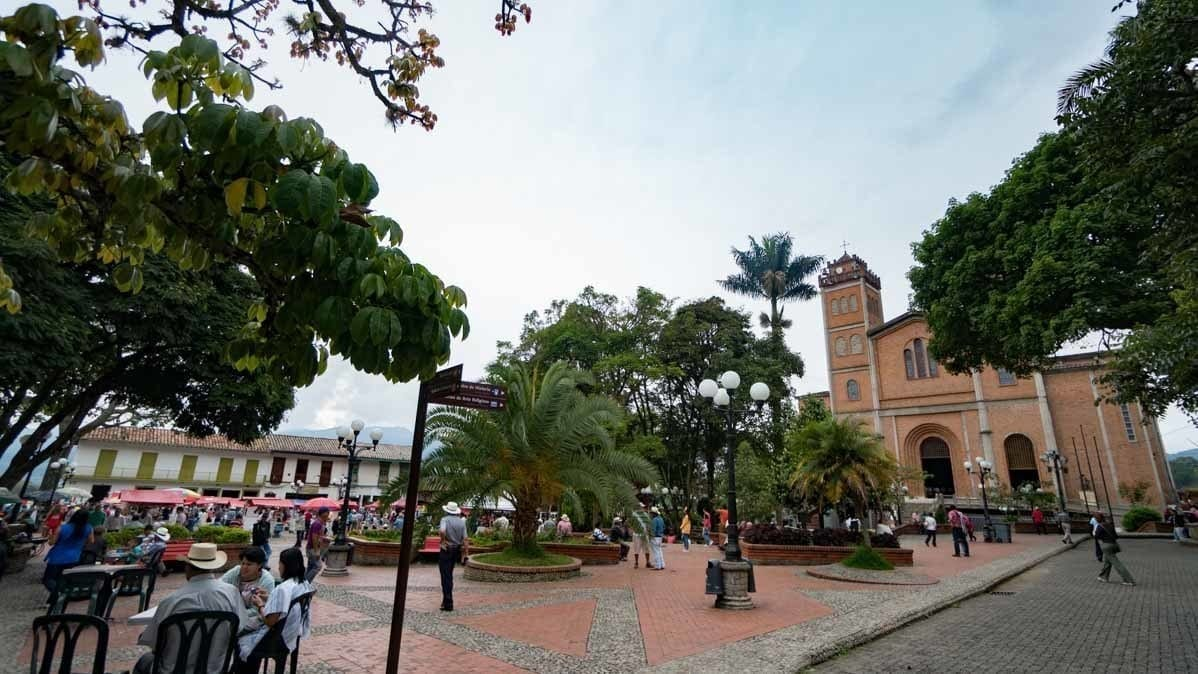 View of the town square in Jerico Colombia
