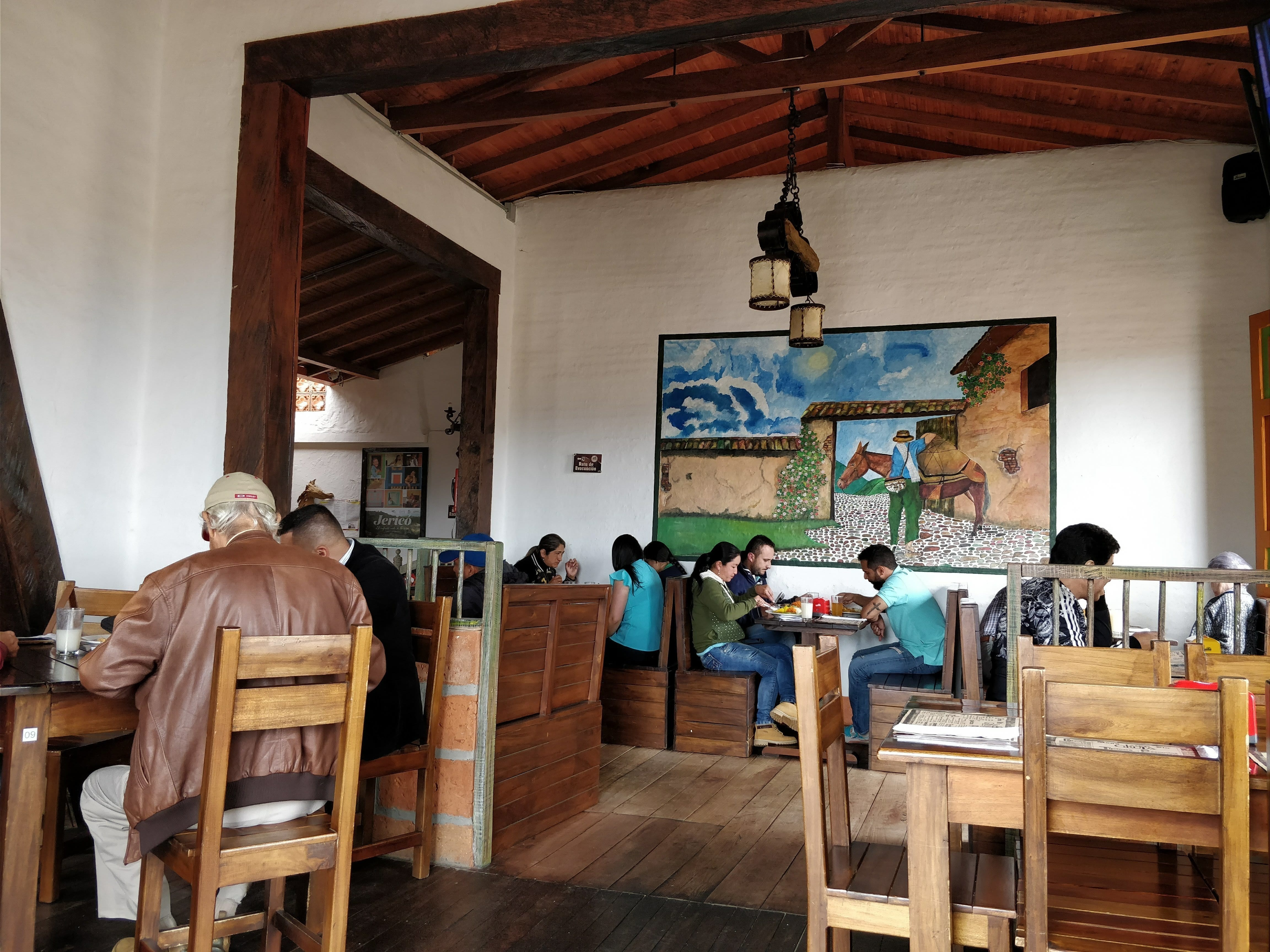 the inside of La Gruta restaurant in Jerico Colombia
