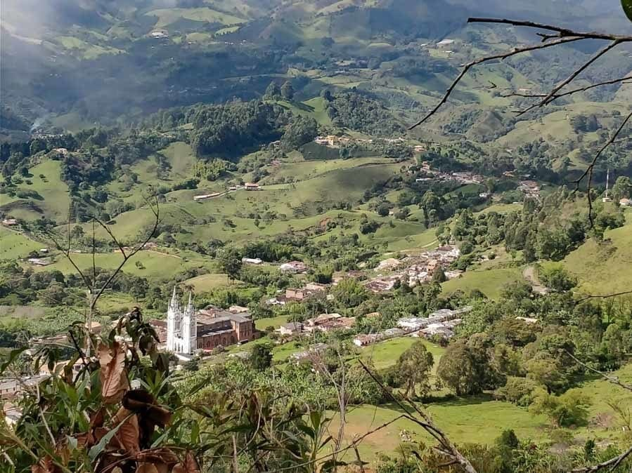 view of catedral at cerro las nubes in Jerico Colombia
