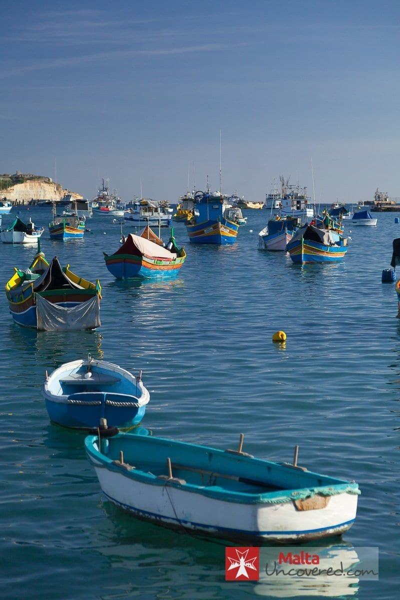 Fishing boats in the harbor of the beatiful malta city