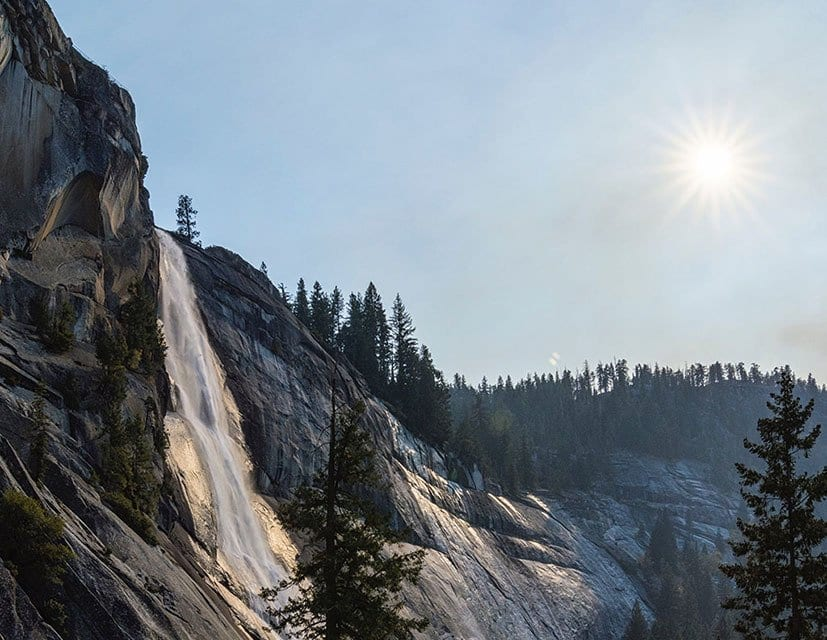 Picture of Nevada Falls, a trail to do winter hikes.